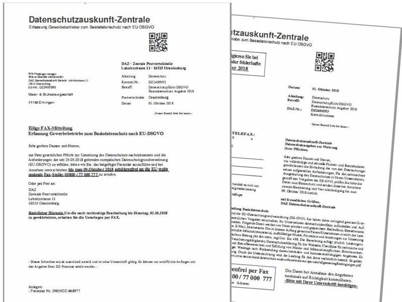 Warnung Dreiste Abzocke Mit Dsgvo Landesinnungsverband Des Maler